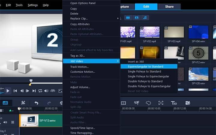 How To Convert 360 Video To Standard Video in VideoStudio