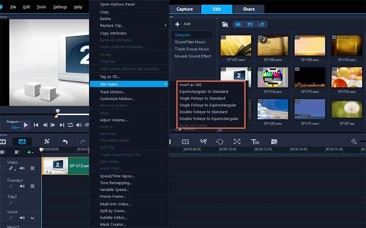 Select video clip on timeline