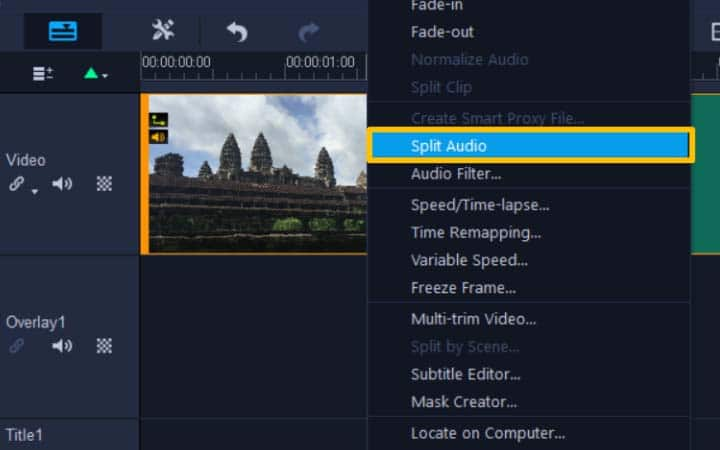 Right click and select Split Audio