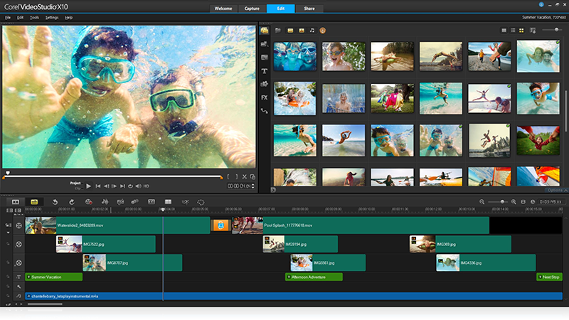 Video editing software by corel videostudio pro x10 for Free corel video studio templates